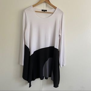 Comfy USA Lagenlook color block tunic top size L